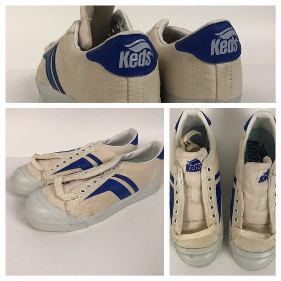 1980s Keds White Tennis Shoes / Lace Up Blue & Whi