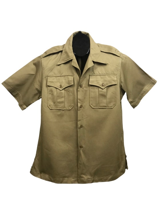 1950s Khaki Military Shirt / 50s Button Down Workw