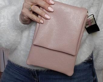 Pale Pink Small Crossbody/Shoulder Bag, Vegan Leather Pale Pink, Vegan Leather Handmade Crossbody Bag, Handbag Shop