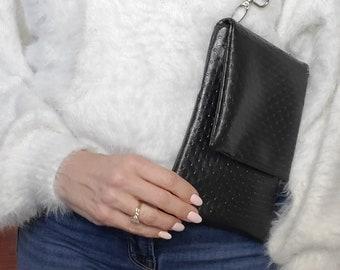 Textured Black Small Crossbody/Shoulder Bag, Vegan Leather Black, Vegan Leather Handmade Crossbody Bag, Handbag Shop