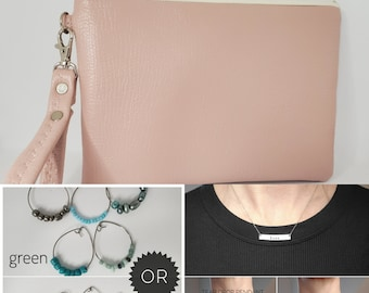 LOVE BUNDLE - Pink - Personalized Necklace, Cocktail Glass Charms and Wristlet for your Loved One