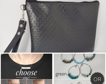 LOVE BUNDLE - Textured Black - Personalized Necklace, Cocktail Glass Charms and Wristlet for your Loved One