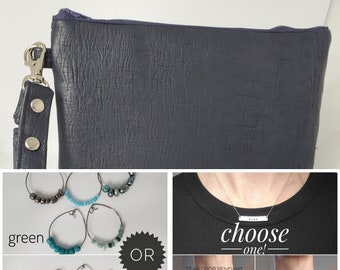 LOVE BUNDLE - Navy Blue - Personalized Necklace, Cocktail Glass Charms and Wristlet for your Loved One