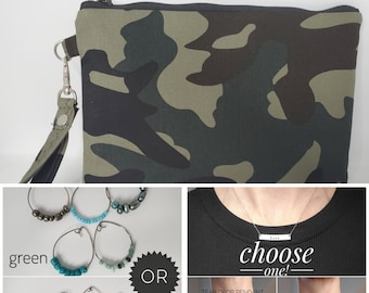 LOVE BUNDLE - Camouflage Print, Personalized Necklace, Cocktail Glass Charms and Wristlet for your Loved One