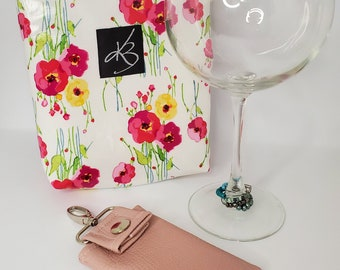 BFF BUNDLE - Floral  - Small Travel Caddy,  Key Chain Card Case and Cocktail Glass Charm Set