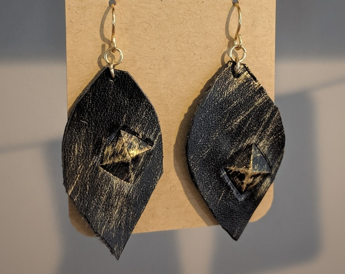 Faux Leather Dangle Earrings - Gift for Her - Modern Stylish Accessories for Women - Birthday Present - Gift for Mom - Leaf Shape