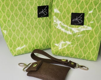 TRAVEL PACK - Green  - Regular Size Travel Caddy, Matching Small Caddy and Key Chain and Matching Key Chain Card Case