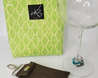 BFF BUNDLE - Green  - Small Travel Caddy,  Key Chain Card Case and Cocktail Glass Charm Set