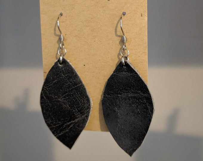 Faux Leather Dangle Earrings - Gift for Her - Modern Stylish Accessories for Women - Birthday Present -  Dark Gray Leaf Shape