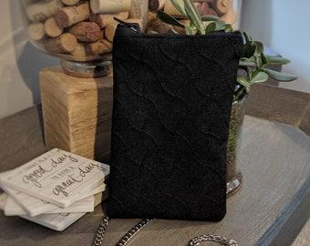 Cell Phone Crossbody Bag - Birthday Present - Handmade Crossbody Bag - Gift for Her - Handbag Shop - Black Denim