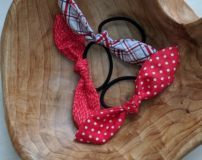 Hair Tie Trio - Cute Hair Ties - Red and White Fabric Hair Ties - Hair Accessories for Girls and Women - Birthday Gift - Party Favors