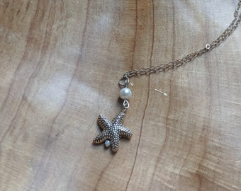 Silver Starfish Charm Necklace on Silver Stainless Steel Chain - Gift for Her - Birthday Present - Handmade Accessories