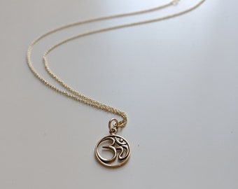 Gold Tone Om Charm Necklace - Yoga Lover's Jewelry - Gift for Mom - Handmade Gift for Her - Zen Jewelry - Meditation Jewelry