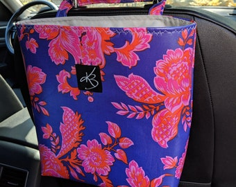 Car Caddy with Pink and Purple Laminated Cotton Fabric - Car Organizer - Travel Bag for Car - Bag for Organizing Kids' Toys - Bag for Car
