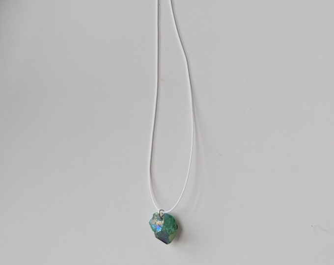 Green Aura Crystal Necklace with Silk Cord - Gift for Her - Crystal Jewelry - Birthday Present - Silk Cord Necklace- Jewelry Gifts