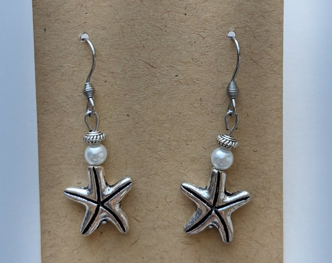 4d915cc50 Silver Starfish Dangle Earrings with Small White Bead - Accessories for  Every Day - - Jewelry