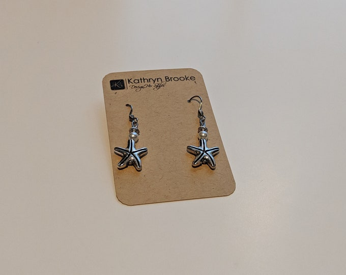 Silver Starfish Dangle Earrings with Small White Bead - Accessories for Every Day - - Jewelry Gift