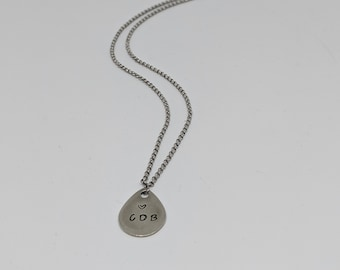 Personalized Silver Necklace with Stainless Steel Chain- Gift for Mom- Valentines Day Gift Idea - Great Gift for Wife - Jewelry Gift