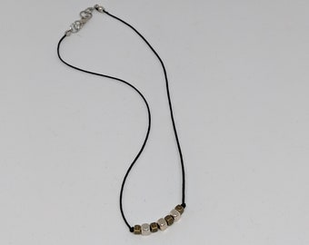 """Black Cord Necklace with Silver and Gold Beads  - 16"""" Silk Cord Necklace - Accessories for Women - Lightweight Necklace - Birthday Gift"""