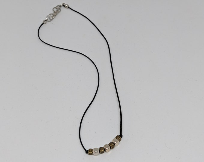 "Black Cord Necklace with Silver and Gold Beads  - 16"" Silk Cord Necklace - Accessories for Women - Lightweight Necklace - Birthday Gift"