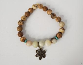 Brown Jasper Bead Stretch Bracelet - Women's Accessories - Birthday Present - Handmade Fashion Bracelet Jewelry - Gift for Yogi