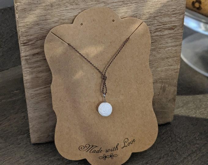 Lava Stone Necklace on Silk Cord - Single White Lava Stone Bead -  Zen Jewelry - Grounding Stone Jewelry - Gift for Yogi