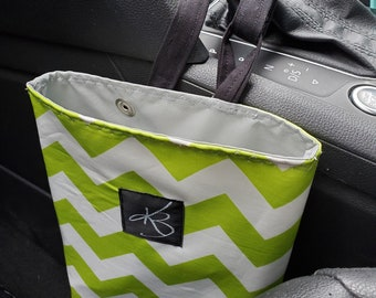 Small Car Caddy, Lime and White Chevron Print Laminated Cotton Fabric, Car Organizer, Travel Car Accessories for Women