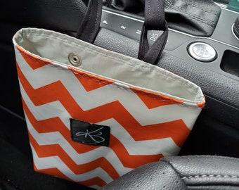 Small Car Caddy, Orange and White Chevron Print Laminated Cotton Fabric, Car Organizer, Travel Car Accessories for Women, Child's Bag