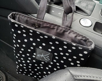 Small Car Caddy, Black and White Polka Dot Print Laminated Cotton Fabric, Car Organizer, Travel Car Accessories for Women