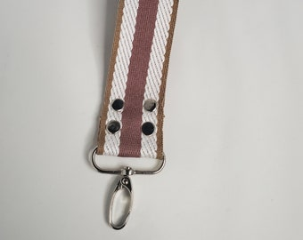 """Pink and Natural Striped Webbing Key Chain - 1.5"""" Silver Swivel Hook, Travel Key Chain"""