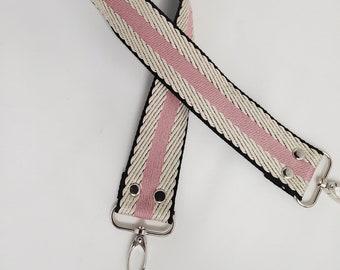 """Pink and Black Stripe Shoulder Bag Strap, 29"""" Strap, Pink, Black and Beige 1.5"""" Cotton Webbing,  Purse Strap"""