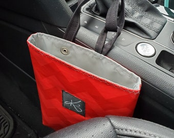 Small Car Caddy, Red Chevron Laminated Cotton Fabric, Car Organizer, Travel Car Accessories for Women