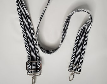 "Adjustable Purse Strap, Black and White 1.5"" Cotton Webbing Purse Strap"