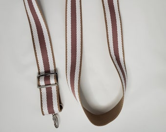 "Adjustable Purse Strap, Pink and Natural Stripe Chevron 1.5"" Cotton Webbing Purse Strap"