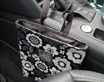 Small Car Caddy, Black and White Floral Print Laminated Cotton Fabric, Car Organizer, Travel Car Accessories for Women
