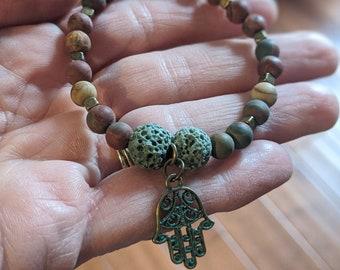 Lava Stone Stretch Bracelet with Hamsa Charm - Green Lava Stone - Jasper Stone - Grounding Lava Stones - Hamsa Hand Charm - Jewelry Gifts
