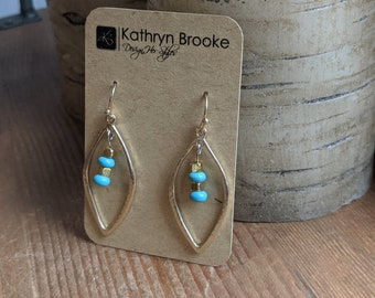 Turquoise and Gold Hoops - Dangle Earrings - Birthday Present - Gift for Women - Handmade Accessories- Fashion Jewelry