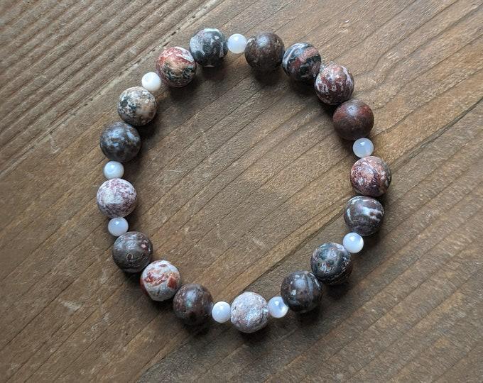 Jasper and Mother of Pearl Stretch Bracelet - Red Jasper and Mother of Pearl - Zen Jewelry - Grounding Stones - Precious Stones - Birthday