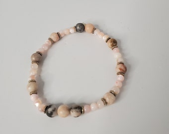 Jasper and Mother of Pearl Stretch Bracelet - Pink Mother of Pearl - Zen Jewelry - Grounding Stones - Precious Stones - Birthday Present