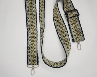 """Adjustable Purse Strap, Blue and Yellow 1.5"""" Cotton Webbing Purse Strap"""
