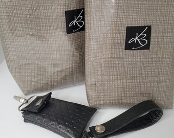 TRAVEL PACK - Gray - Regular Size Travel Caddy, Matching Small Caddy and Key Chain and Matching Key Chain Card Case