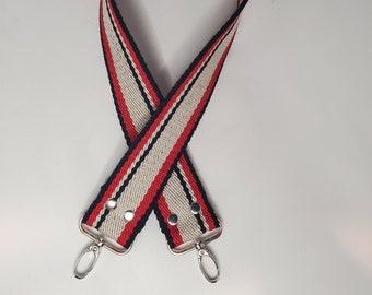 """Red, White and Black Stripe Shoulder Bag Strap, 28"""" Strap, Pink, Black and Beige 1.5"""" Cotton Webbing,  Purse Strap"""
