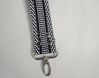 "Black and White Webbing Key Chain - 1.5"" Silver Swivel Hook, Travel Key Chain"