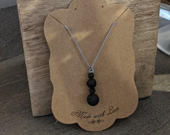 Lava Stone Necklace on Silk Cord - Four Stacking Black Lava Stone Bead -  Zen Jewelry - Grounding Stone Jewelry - Gift for Yogi