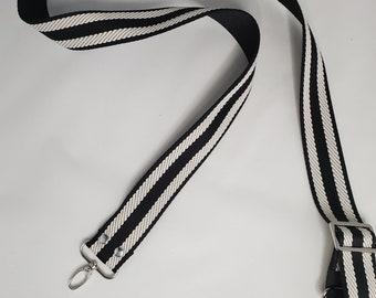 "Adjustable Bag Strap, Black and White Striped 1.5"" Cotton Webbing Purse Strap 29"" - 55"" Length, Long Strap"