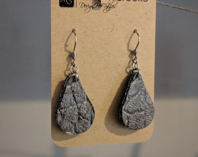 Faux Leather Dangle Earrings - Tear Drop Shaped Earrings - Gray Faux Leather - Gift for Women - Gift for Her