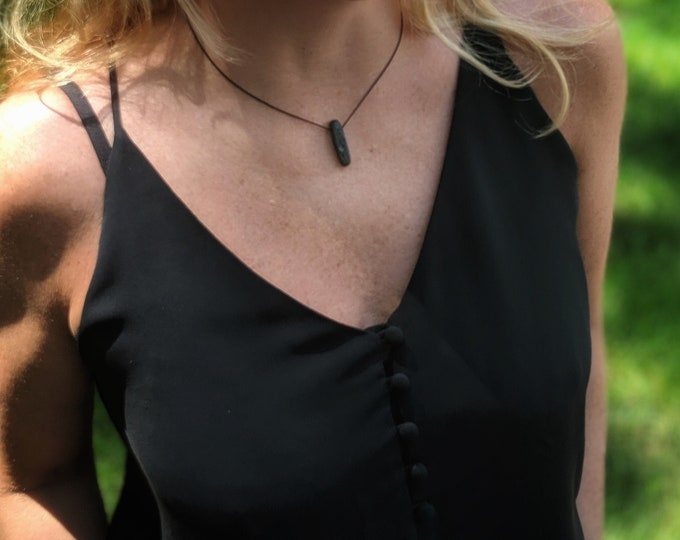 Black Lava Stone Necklace with Black Silk Cord - Healing Jewelry - Meditation Jewelry - Yogi Jewelry - Simple Necklace