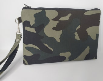 Camouflage Print Fabric Wristlet , Cotton Wristlet Bag for Women