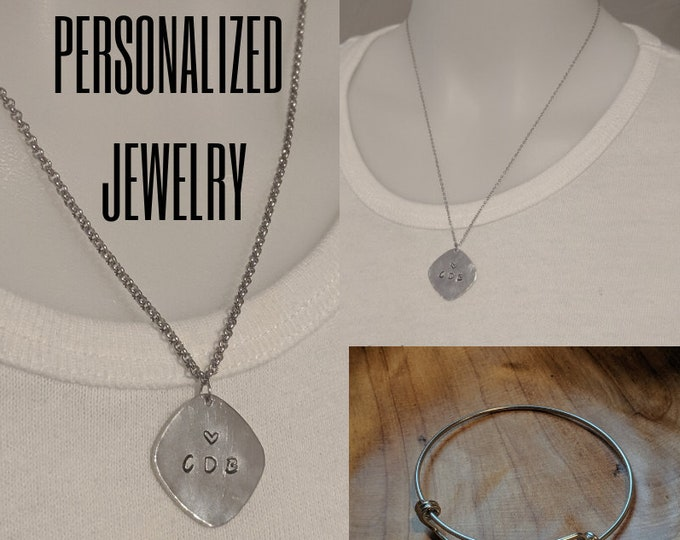 Personalized Necklace - Personalized Bracelet  - Stamped - Custom - Stainless Steel Jewelry - Birthstone Crystals