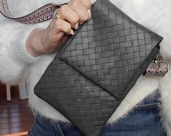 Textured Gray Small Crossbody/Shoulder Bag, Vegan Leather Gray, Vegan Leather Handmade Crossbody Bag, Handbag Shop